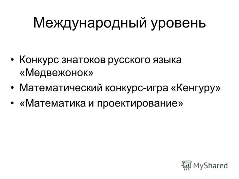Федеральный уровень «Юные журналисты России» Конкурс научно-образовательных проектов «Энергия будущего» Пушкинский конкурс (литература, музыка, хореография, изобразительное искусство)