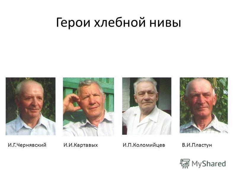 Герои хлебной нивы И.Г.ЧернявскийИ.И.КартавыхИ.П.КоломийцевВ.И.Пластун