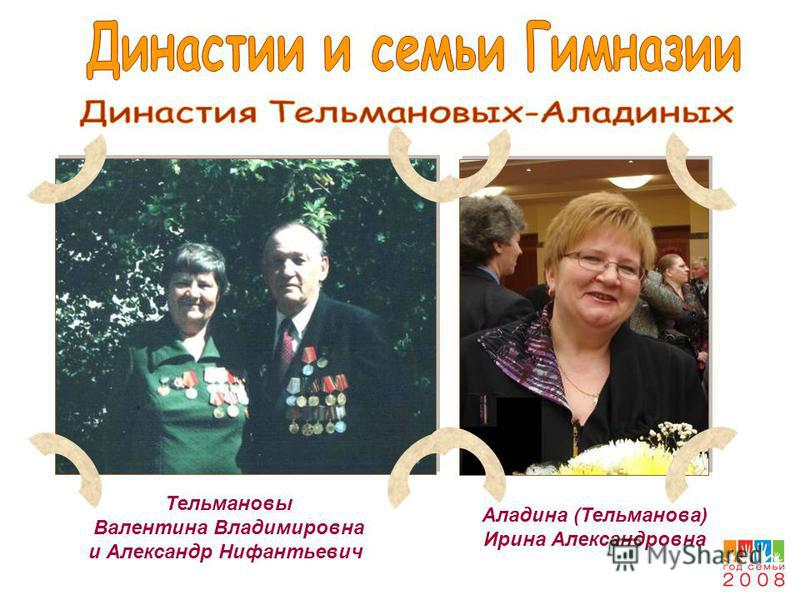Тельмановы Валентина Владимировна и Александр Нифантьевич Аладина (Тельманова) Ирина Александровна