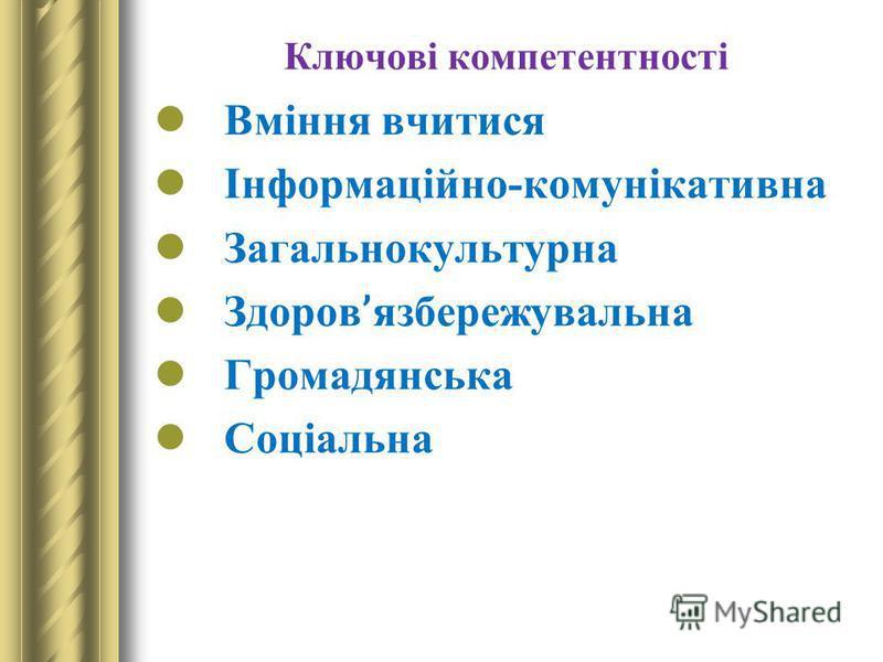 Ключові компетентності Вміння вчитися Інформаційно-комунікативна Загальнокультурна Здоров ' язбережувальна Громадянська Соціальна