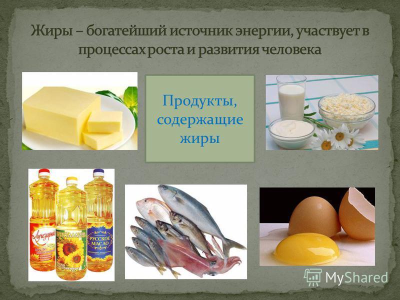 Продукты, содержащие жиры