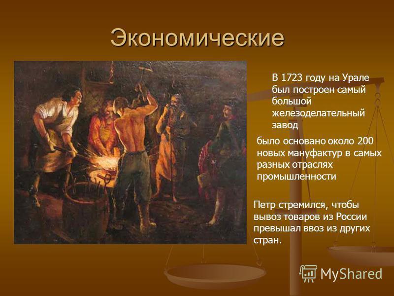 Экономические В 1723 году на Урале был построен самый большой железоделательный завод было основано около 200 новых мануфактур в самых разных отраслях промышленности Петр стремился, чтобы вывоз товаров из России превышал ввоз из других стран.
