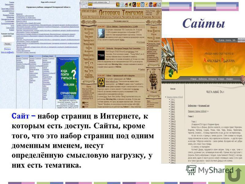 Сайты C айт – набор страниц в Интернете, к которым есть доступ. Сайты, кроме того, что это набор страниц под одним доменным именем, несут определённую смысловую нагрузку, у них есть тематика.