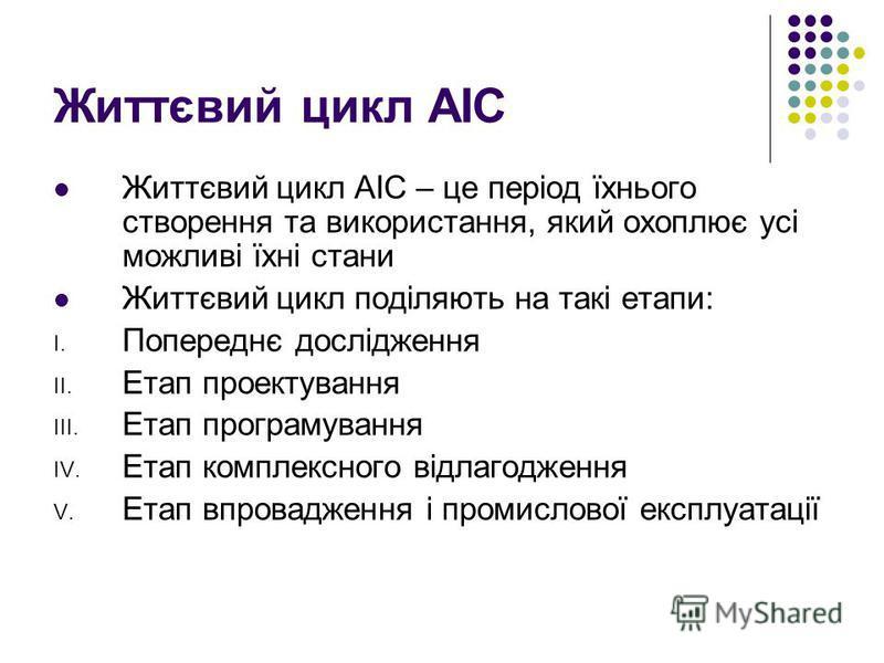 Життєвий цикл АІС Життєвий цикл АІС – це період їхнього створення та використання, який охоплює усі можливі їхні стани Життєвий цикл поділяють на такі етапи: I. Попереднє дослідження II. Етап проектування III. Етап програмування IV. Етап комплексного