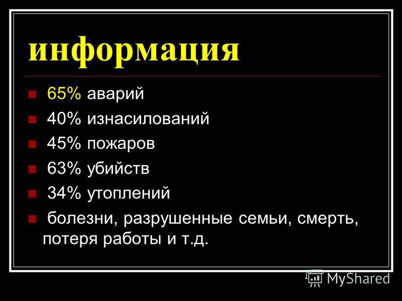 информация 65% аварий 40% изнасилований 45% пожаров 63% убийств 34% утоплений болезни, разрушенные семьи, смерть, потеря работы и т.д.
