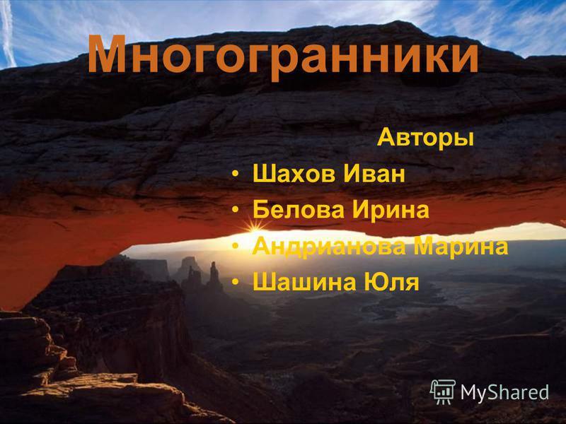 Многогранники Авторы Шахов Иван Белова Ирина Андрианова Марина Шашина Юля