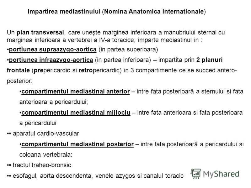Impartirea mediastinului (Nomina Anatomica Internationale) Un plan transversal, care uneşte marginea inferioara a manubriului sternal cu marginea inferioara a vertebrei a IV-a toracice, împarte mediastinul in : portiunea supraazygo-aortica (in partea