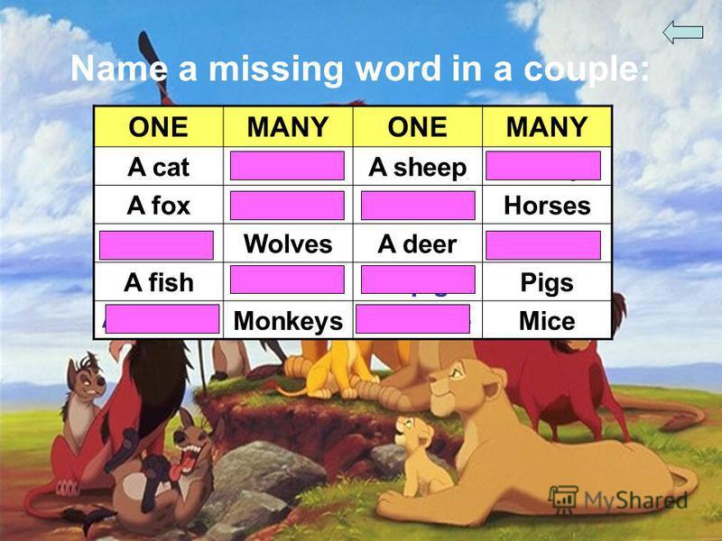 Name a missing word in a couple: ONEMANYONEMANY A catCatsA sheepSheep A foxFoxesA horseHorses A wolfWolvesA deerDeer A fishFishA pigPigs A monkey MonkeysA mouseMice