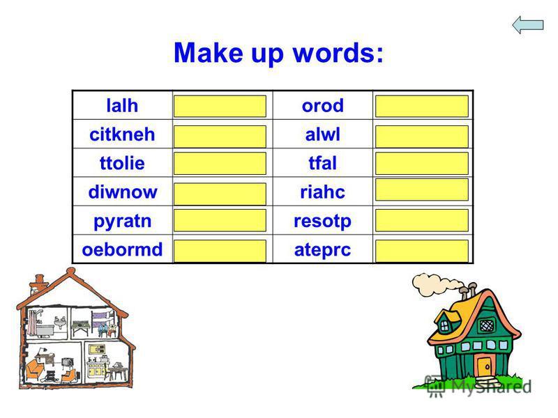 Make up words: lalhhalloroddoor citknehkitchenalwlwall ttolietoilettfalflat diwnowwindowriahcchair pyratnpantryresotpposter oebormdbedroomateprccarpet