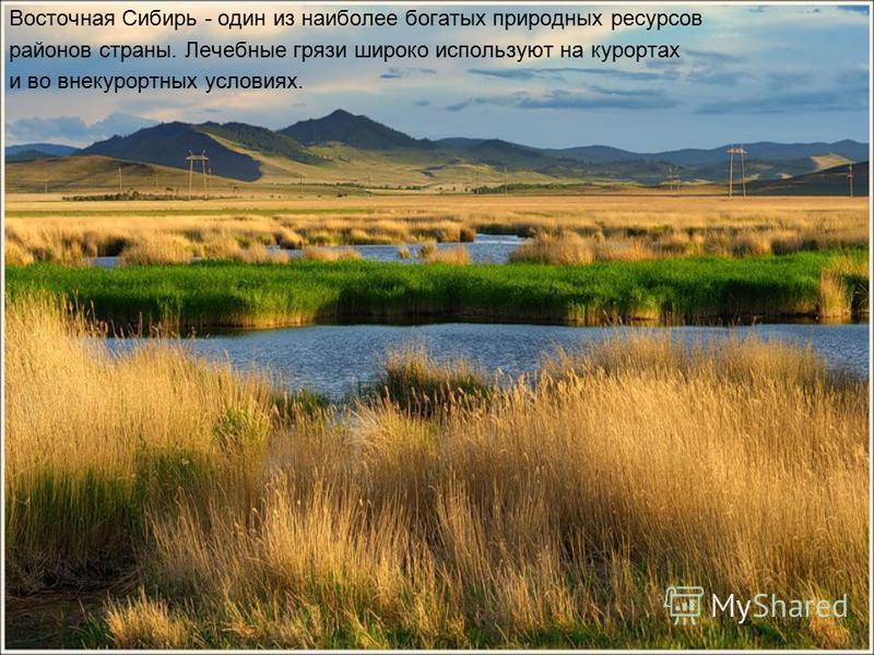 Восточная Сибирь - один из наиболее богатых природных ресурсов районов страны. Лечебные грязи широко используют на курортах и в овне курортных условиях.