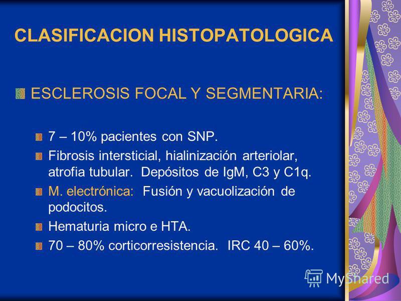 CLASIFICACION HISTOPATOLOGICA ESCLEROSIS FOCAL Y SEGMENTARIA: 7 – 10% pacientes con SNP. Fibrosis intersticial, hialinización arteriolar, atrofia tubular. Depósitos de IgM, C3 y C1q. M. electrónica: Fusión y vacuolización de podocitos. Hematuria micr