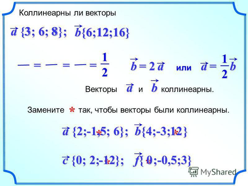 c {0; 2; }; f{ ;-0,5;3} * * -120 * Замените так, чтобы векторы были коллинеарныййй.* a {2; ; 6}; b{4;-3; } * 12 -1,5 -1,5 Коллинеарны ли векторы b{6;12;16} a {3; 6; 8}; 12 3 68 6 12 12 16 16 16 16=== ab = 2 ab =12 или Векторы и коллинеарныййй.ab