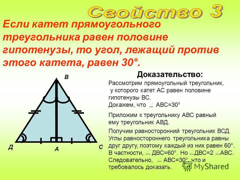 Катет прямоугольного треугольника, лежащий против угла в 30°, равен половине гипотенузы. Доказательство: Д 60° 30° А С В 60° Приложим к треугольнику АВС равный ему треугольник АВД. Рассмотрим прямоугольный треугольник, в котором A - прямой, B=30° и з