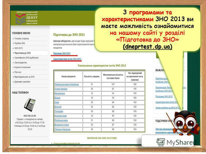 програмами та характеристиками З програмами та характеристиками ЗНО 2013 ви маєте можливість ознайомитися на нашому сайті у розділі «Підготовка до ЗНО»(dneprtest.dp.ua) (dneprtest.dp.ua)