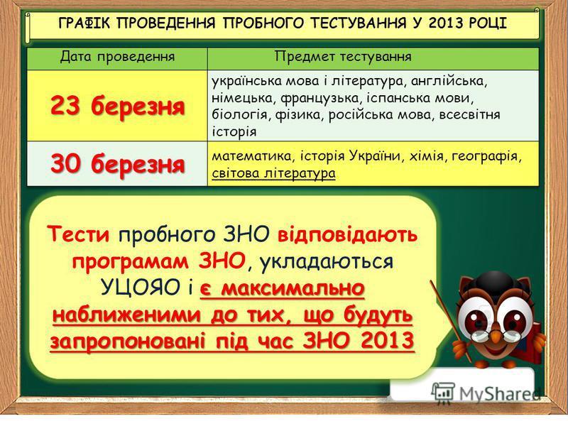 ГРАФІК ПРОВЕДЕННЯ ПРОБНОГО ТЕСТУВАННЯ У 2013 РОЦІ ГРАФІК ПРОВЕДЕННЯ ПРОБНОГО ТЕСТУВАННЯ У 2013 РОЦІ є максимально наближеними до тих, що будуть запропоновані під час ЗНО 2013 Тести пробного ЗНО відповідають програмам ЗНО, укладаються УЦОЯО і є максим