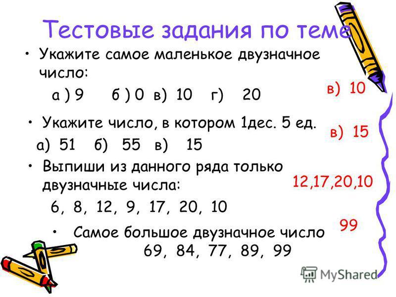 Тестовые задания по теме в) 10 в) 15 12,17,20,10 99 Укажите самое маленькое двузначное число: а ) 9 б ) 0 в) 10 г) 20 Укажите число, в котором 1 дес. 5 ед. а) 51 б) 55 в) 15 Выпиши из данного ряда только двузначные числа: 6, 8, 12, 9, 17, 20, 10 Само