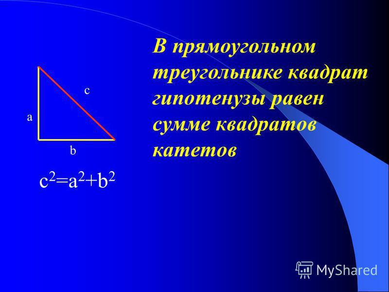 В прямоугольном треугольнике квадрат гипотенузы равен сумме квадратов катетов c 2 =a 2 +b 2 c a b