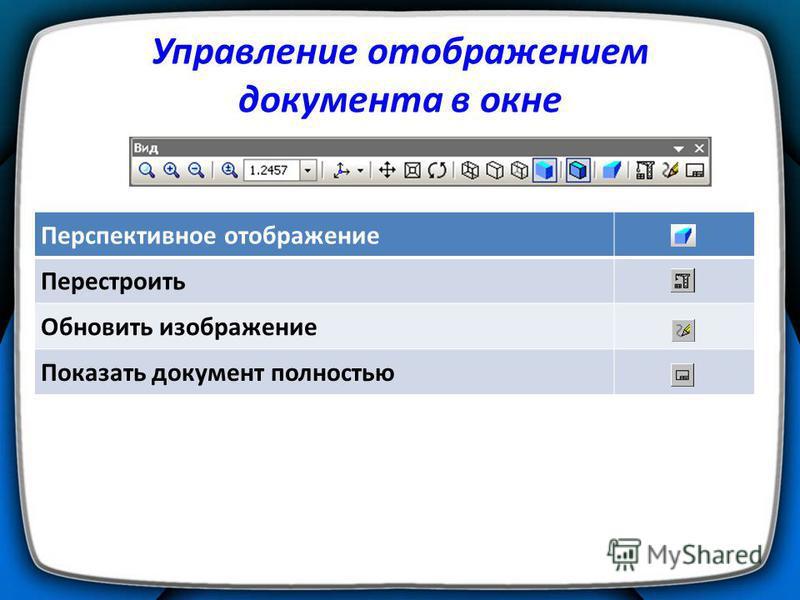 Управление отображением документа в окне Перспективное отображение Перестроить Обновить изображение Показать документ полностью