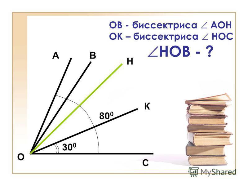 ОВ - биссектриса АОН ОК – биссектриса НОС НОВ - ? АВ С О 80 0 30 0 Н К