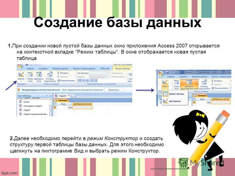 Создание базы данных 1. При создании новой пустой базы данных окно приложения Access 2007 открывается на контекстной вкладке