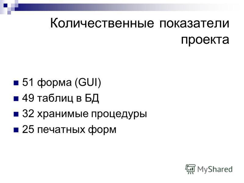 Количественные показатели проекта 51 форма (GUI) 49 таблиц в БД 32 хранимые процедуры 25 печатных форм