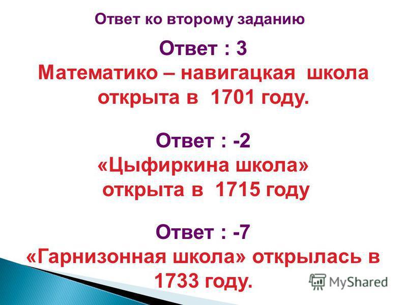 Ответ : 3 Математико – навигацкая школа открыта в 1701 году. Ответ : -2 «Цыфиркина школа» открыта в 1715 году Ответ : -7 «Гарнизонная школа» открылась в 1733 году. Ответ ко второму заданию