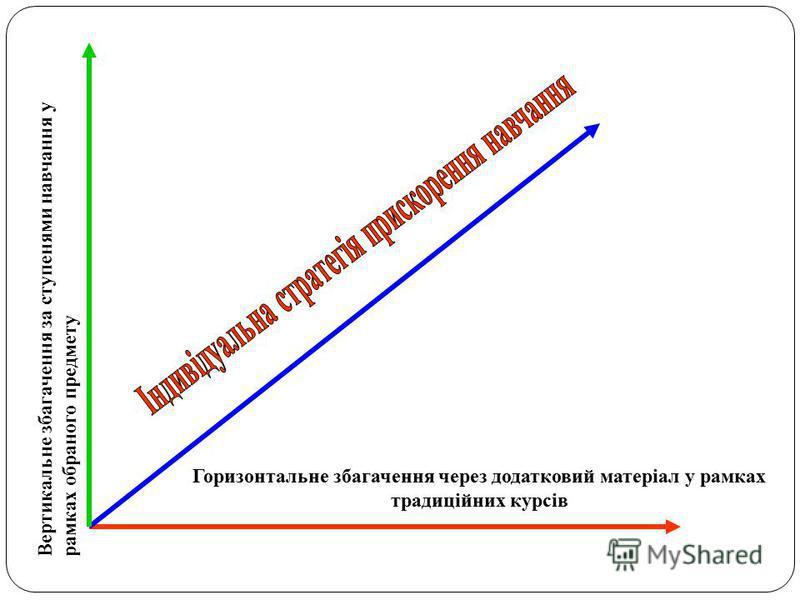 Горизонтальне збагачення через додатковий матеріал у рамках традиційних курсів Вертикальне збагачення за ступенями навчання у рамках обраного предмету