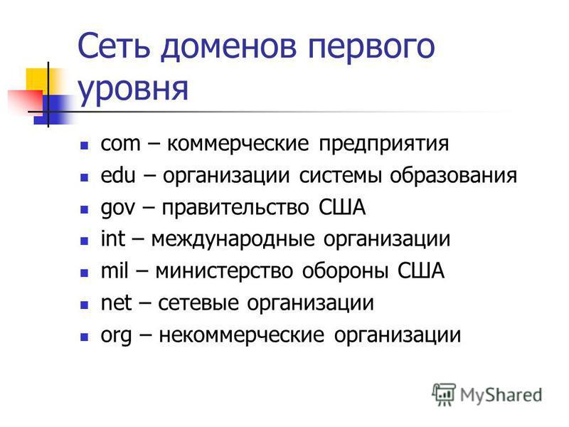 Сеть доменов первого уровня com – коммерческие предприятия edu – организации системы образования gov – правительство США int – международные организации mil – министерство обороны США net – сетевые организации org – некоммерческие организации
