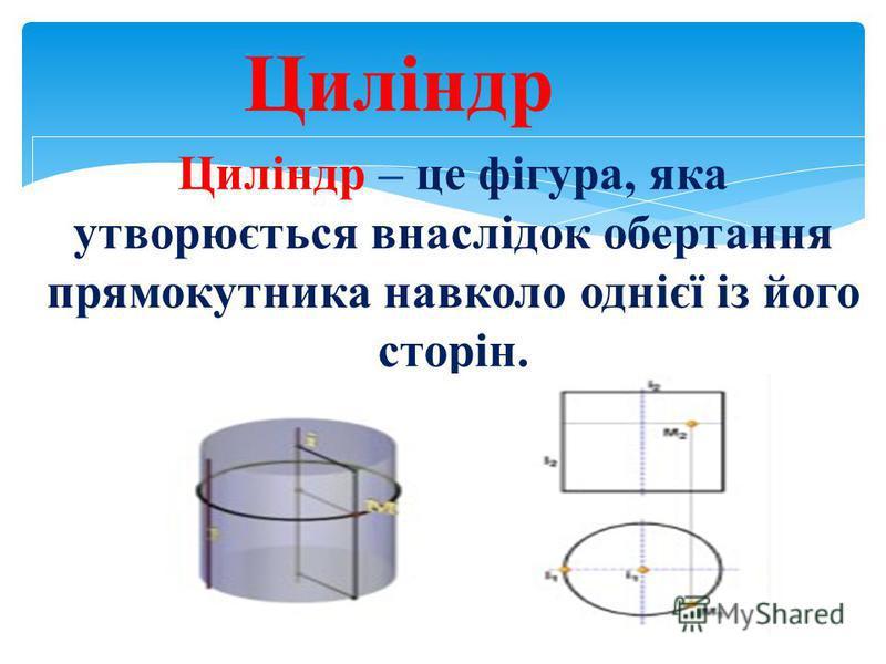 Циліндр – це фігура, яка утворюється внаслідок обертання прямокутника навколо однієї із його сторін. Циліндр