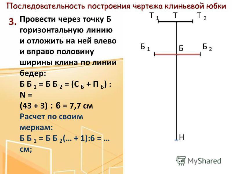 Последовательность построения чертежа клиньевой юбки 3. Провести через точку Б горизонтальную линию и отложить на ней влево и вправо половину ширины клина по линии бедер: Б Б 1 = Б Б 2 = (С Б + П Б ) : N = (43 + 3) : 6 = 7,7 см Расчет по своим меркам