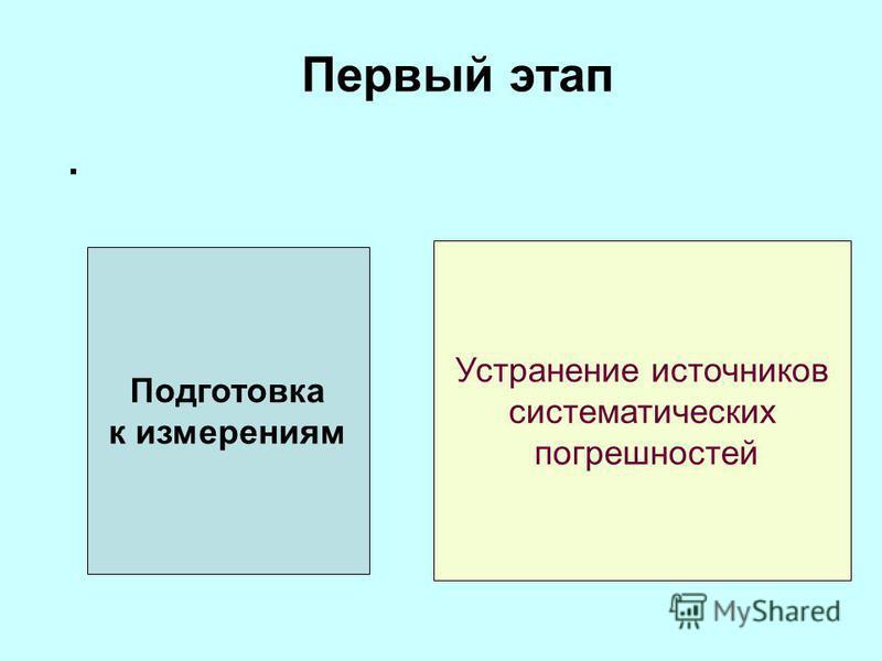 Первый этап. Подготовка к измерениям Устранение источников систематических погрешностей