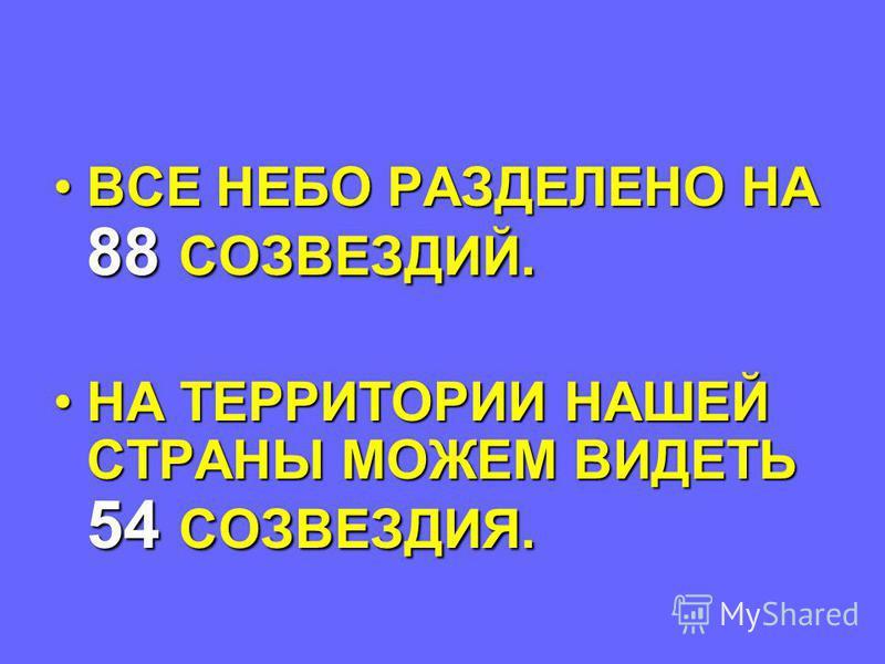 ВСЕ НЕБО РАЗДЕЛЕНО НА 88 СОЗВЕЗДИЙ.ВСЕ НЕБО РАЗДЕЛЕНО НА 88 СОЗВЕЗДИЙ. НА ТЕРРИТОРИИ НАШЕЙ СТРАНЫ МОЖЕМ ВИДЕТЬ 54 СОЗВЕЗДИЯ.НА ТЕРРИТОРИИ НАШЕЙ СТРАНЫ МОЖЕМ ВИДЕТЬ 54 СОЗВЕЗДИЯ.