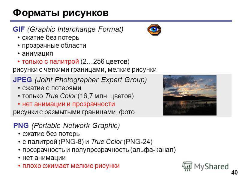 40 Форматы рисунков GIF (Graphic Interchange Format) сжатие без потерь прозрачные области анимация только с палитрой (2…256 цветов) рисунки с четкими границами, мелкие рисунки JPEG (Joint Photographer Expert Group) сжатие с потерями только True Color