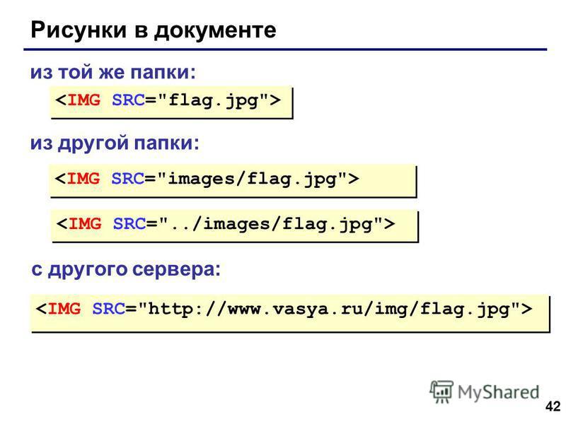 42 Рисунки в документе из той же папки: из другой папки: с другого сервера:
