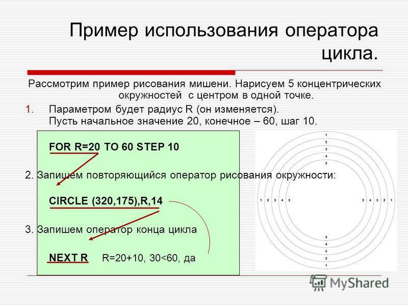 Пример использования оператора цикла. Рассмотрим пример рисования мишени. Нарисуем 5 концентрических окружностей с центром в одной точке. 1. Параметром будет радиус R (он изменяется). Пусть начальное значение 20, конечное – 60, шаг 10. FOR R=20 TO 60