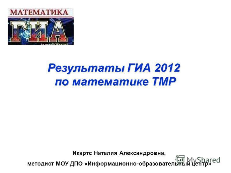 Результаты ГИА 2012 по математике ТМРИкартс Наталия Александровна, методист МОУ ДПО «Информационно-образовательный центр»