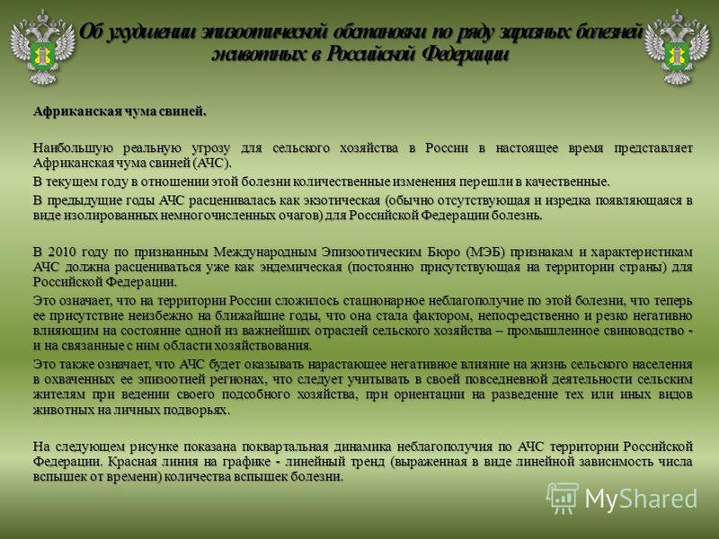 Африканская чума свиней. Наибольшую реальную угрозу для сельского хозяйства в России в настоящее время представляет Африканская чума свиней (АЧС). В текущем году в отношении этой болезни количественные изменения перешли в качественные. В предыдущие г