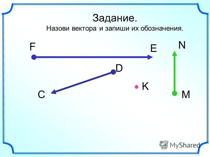Задание. Назови вектора и запиши их обозначения. С D M N F E K
