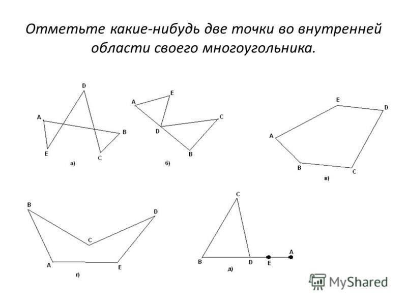 Отметьте какие-нибудь две точки во внутренней области своего многоугольника.