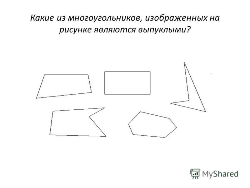 Какие из многоугольников, изображенных на рисунке являются выпуклыми?