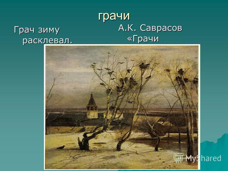 грачи Грач зиму расклевал. А.К. Саврасов «Грачи прилетели».