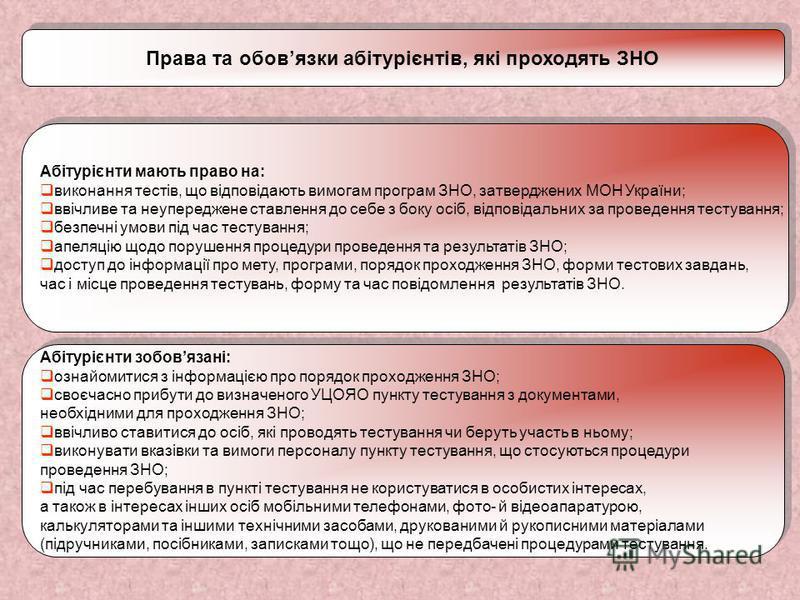 Права та обовязки абітурієнтів, які проходять ЗНО Абітурієнти мають право на: виконання тестів, що відповідають вимогам програм ЗНО, затверджених МОН України; ввічливе та неупереджене ставлення до себе з боку осіб, відповідальних за проведення тестув