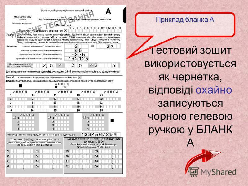 Тестовий зошит використовується як чернетка, відповіді охайно записуються чорною гелевою ручкою у БЛАНК А Приклад бланка А