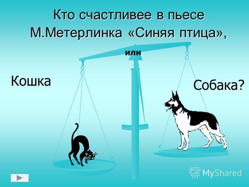 Кто счастливее в пьесе М.Метерлинка «Синяя птица», Кошка или Собака?