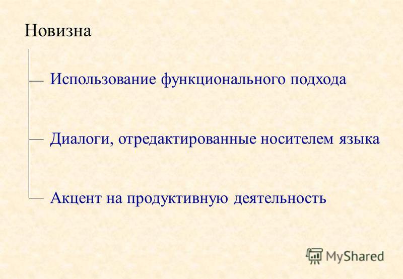 Новизна Использование функционального подхода Диалоги, отредактированные носителем языка Акцент на продуктивную деятельность