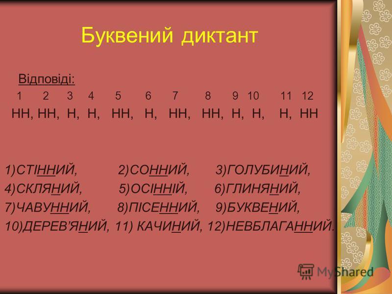 Буквений диктант Відповіді: 1 2 3 4 5 6 7 8 9 10 11 12 НН, НН, Н, Н, НН, Н, НН, НН, Н, Н, Н, НН 1)СТІННИЙ, 2)СОННИЙ, 3)ГОЛУБИНИЙ, 4)СКЛЯНИЙ, 5)ОСІННІЙ, 6)ГЛИНЯНИЙ, 7)ЧАВУННИЙ, 8)ПІСЕННИЙ, 9)БУКВЕНИЙ, 10)ДЕРЕВЯНИЙ, 11) КАЧИНИЙ, 12)НЕВБЛАГАННИЙ.