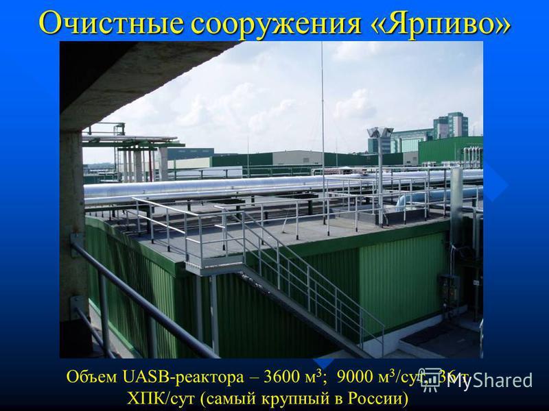 EGSB-реактор на «Эфес-Москва» Объем реактора – 450 м 3 ; 3050 м 3 /сут, 8,5 т ХПК/сут