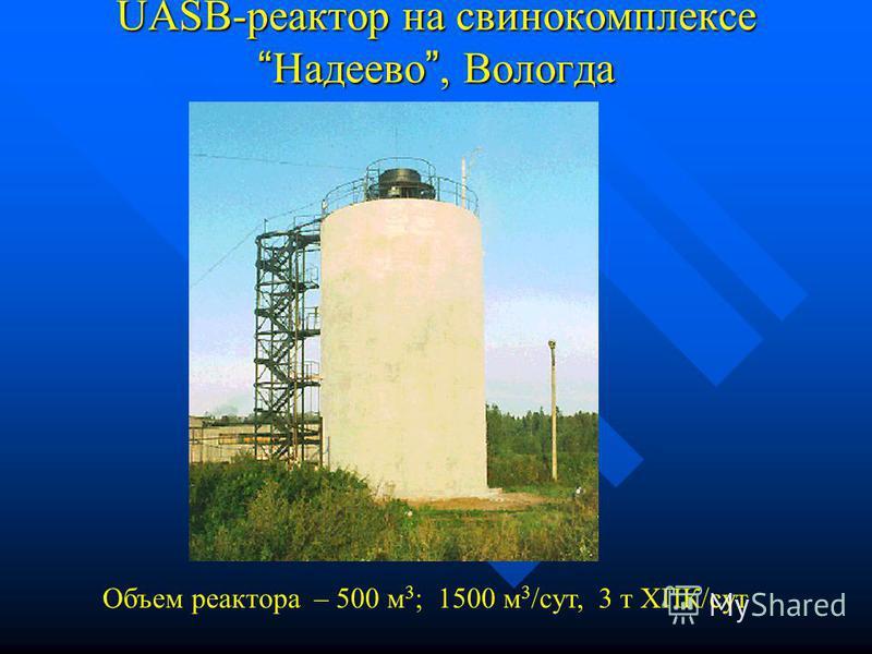 UASB-реактор в Кашире (пр-во чипсов) Объем реактора – 270 м 3 ; 25-35 м 3 /час, 2,6 т ХПК/сут