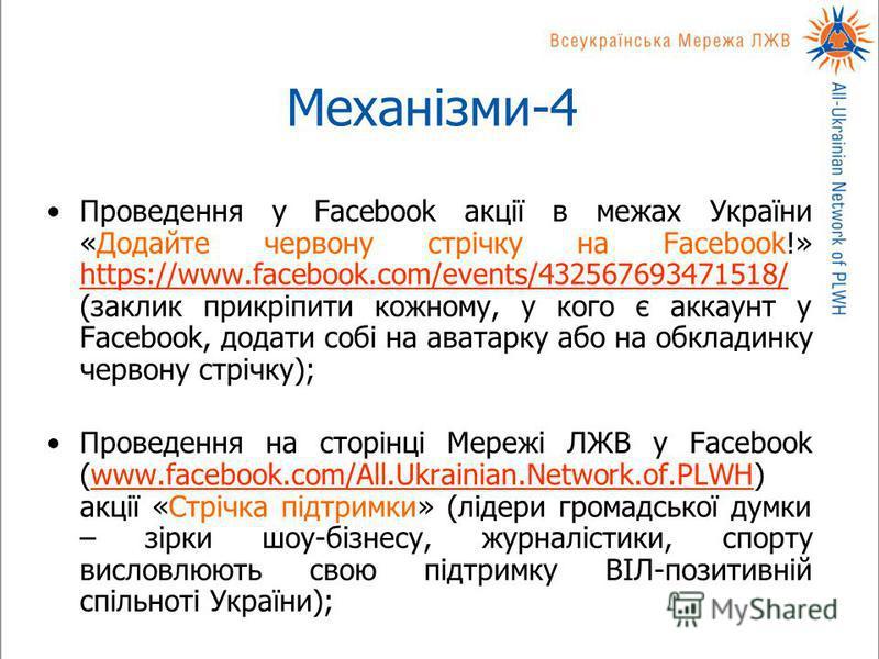 Механізми-4 Проведення у Facebook акції в межах України «Додайте червону стрічку на Facebook!» https://www.facebook.com/events/432567693471518/ (заклик прикріпити кожному, у кого є аккаунт у Facebook, додати собі на аватарку або на обкладинку червону