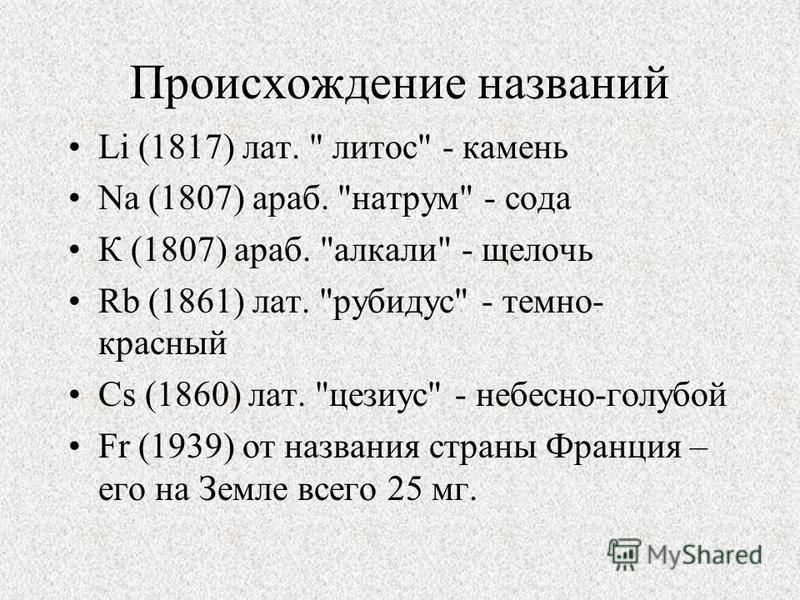 Происхождение названий Li (1817) лат.